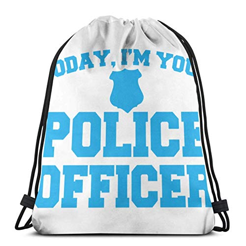 WH-CLA Cinch Bags Today I 'M Your Police Officer Men Drawstring Backpack Cinch Bags Durable Lightweight Casual Drawstring Bags Gym Women Travel Anime Unique Print For Mountaineering Danci