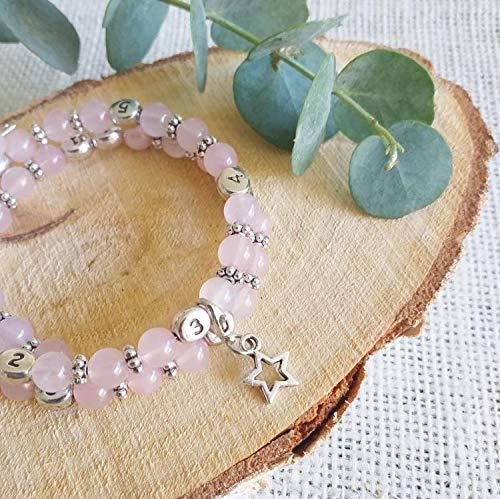 Bracelet d'allaitement Quartz rose - permet de noter l'heure de la dernière tétée ou dernier biberon - modèle Elok