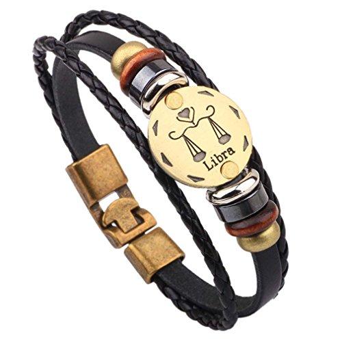 Damen Herren Sternzeichen Armband Vintage Lederarmband Surferarmband Armreif Leder Geflochten Seil mit Perlen Sternbild (Waage)