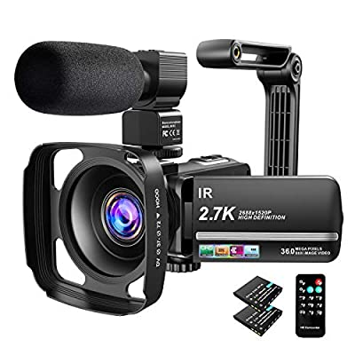 Video Camera Camcorder 2.7K Ultra HD YouTube Vlogging Camera 36MP IR Night Vision Digital Camera Recorder 16X Digital Zoom 3 inch IPS Touch Screen Video Camcorder with Microphone Handheld Stabilizer from Actinow