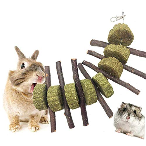 LucBuy Bunny Chew Toys for Teeth, Organic Apple Wood Sticks with Grass Cake for Rabbits/Hamsters/Chinchilla/Guinea Pigs/Parrots, Tree Branches Molar Chewing Sticks Pet Snacks Toys for Small Animals