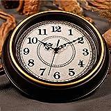 WJH Redondo clásico Reloj rústico Reloj de Pared 12 Pulgadas Decorada dial Cara Retro Pared Reloj silencioso no Marcado Redondo decoración de la Pared Reloj de Pared,Oro