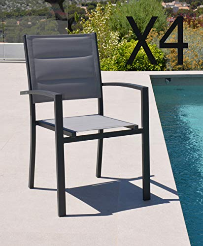 PEGANE Lot de 4 fauteuils en Aluminium et texaline Coloris Gris - Dim : 56.5 x 60 x 90 cm