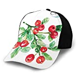 Fashion Casual Printed Baseball Cap,Fruit Berry Diet Fresh Botanical Nature Healthy Taste Flourishing Watercolor Outdoor Trucker Baseball Cap