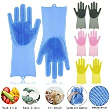 SHOPTOSHOP POPPEY Latex-free Magic Silicone Scrubbing Gloves with Scrubber for Dishwashing and Pet Grooming (Standard Size, Multicolour) - 1 Pair
