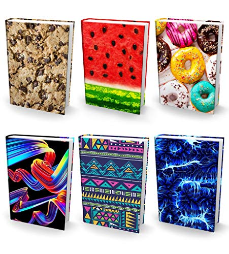 Book Sox Stretchable Book Cover: 6 Print Value Pack. Fits Most Hardcover Textbooks up to 9 x 11. Adhesive-Free, Nylon Fabric School Book Protector Easy to Put On Jacket wash Re-use (Ultra Print2020)
