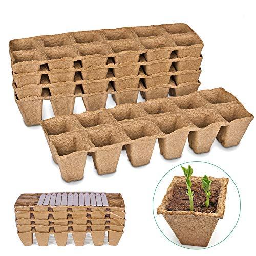 ANSUG 5 Set 60 macetas de plántulas de Fibra Biodegradable compostable a Cuadros con 12 Piezas de Etiquetas de Plantas de plástico Blanco, Macetas ecológicas para el Cultivo de Plantas