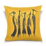 Funda de almohada decorativa cuadrada para mujer, africana, con jarras, funda de almohada para sofá cama, doble cara, 45,7 x 45,7 cm