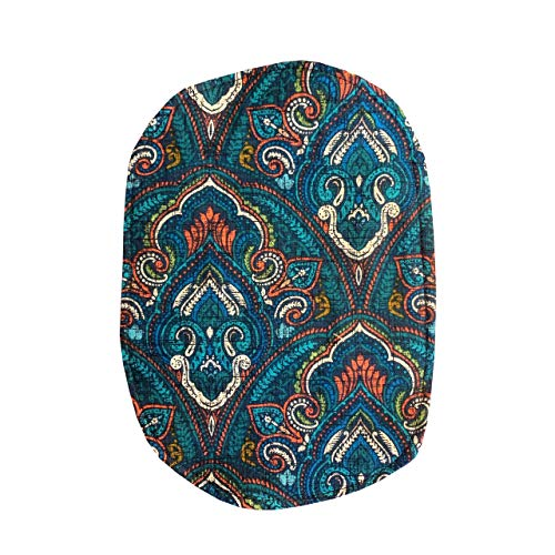 Ostomy Bag Cover Blue Paisley Damask, 3.25 inch Opening