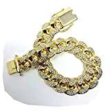 Gold Plated All ICED Out Simulated Diamond Cut Miami Cuban Link Chain Bracelet for Men Real 14MM, 14K Karat Heavy w Solid Thick Clasp US Made 8.5 INCH