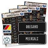 117 Gewürze Etiketten Aufkleber - eckig - weiß/schwarz - Gewürzetiketten Selbstklebend - Wasserfest - Gewürz Sticker 52 x 20 mm und 65 x 25 mm - für Gewürzgläser, Dosen und Regale - Edition XL -