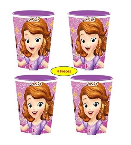 Theonoi Lot de 4 gobelets pour Enfant 260 ML/au Choix : Minnie Pony Princess Frozen PawPatrol Verre Plastique sans BPA – Cadeau Fille Sofia The First