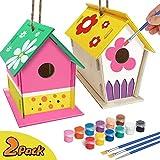 Manualidades coloridas para niños de 4 a 8 años - 2Pack DIY Bird House Kit - Construir y pintar Birdhouse (incluye pinturas y pinceles) Artes de madera para niñas Niños pequeños de 3 a 5 años 8-12