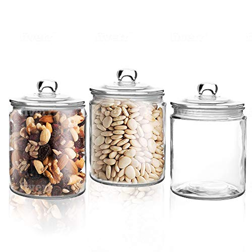 Set of 3 Glass Jar with Lid 1 Liter | Airtight Glass Storage Container for Food, Pasta, Coffee, Candy, Dog Treats, Snacks | Glass Organization Canisters for Home & Kitchen | 34 Ounces