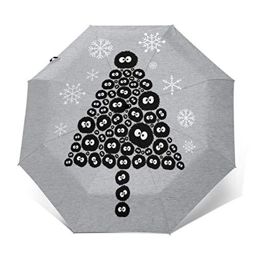 Soots Sprite Christmas Tree Studio Ghibli Windproof Compact Auto Open And Close Folding Umbrella,Automatic Foldable Travel Parasol Umbrella