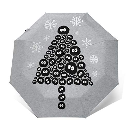Soots Sprite Christmas Tree Studio Ghibli Windproof Compact Auto Open And Close Folding Umbrella,Automatic Foldable Travel Parasol Umbrella