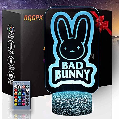 Luci da gioco a led per Bad Bunny Boys lampada regalo di compleanno per bambini ragazze adulti casa vino bar decorazione