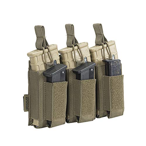 EXCELLENT ELITE SPANKER Open Top Single/Double/Triple Mag Pouch für M4 M16 AK AR Magazine und Pistol Mag Pouch(Triple-Olivgrün)