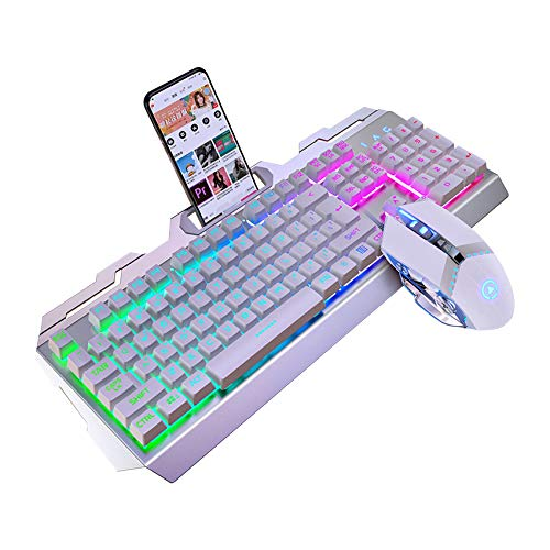 JIE. SXRTLGaming Keyboard Mouse Combo Wired Rainbow Backlit Ergonomic Gamer Keyboard, 104 Keys (19 Keys Non-Conflict), Usb Optical Game Mouse Sets for PC Laptop,White
