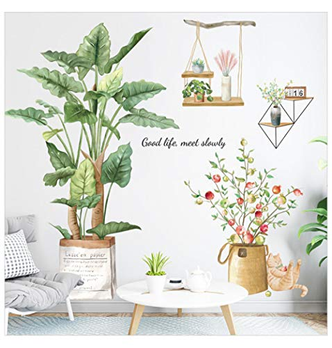 Nordic Large Green Leaf Potted Wall Stickers for Home Decor Removble Viny Wall Decals for Living room Bedroom Wall Decor Murals