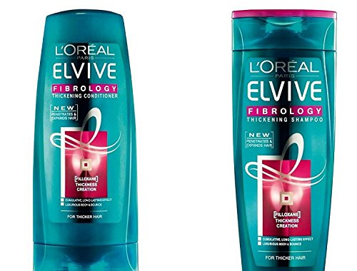 L'Oreal Paris Elvive Fibrology Value Pack 400ml Thickening Shampoo, 400ml Thickening Conditioner Set. Large Bottle Bundle.