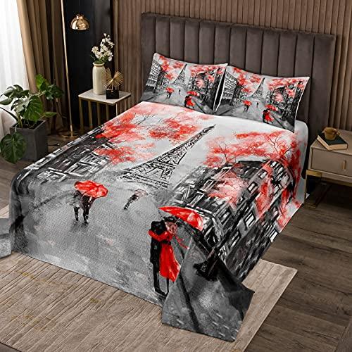 Eiffelturm Steppdecke für Mädchen Romantisches Paris Thema Bettüberwurf Paar Damenzimmer Dekorativ Paris Stadtbild Bedruckt Tagesdeck 220x240cm Wohndecke Modern Französische Art Rot Grau 3St