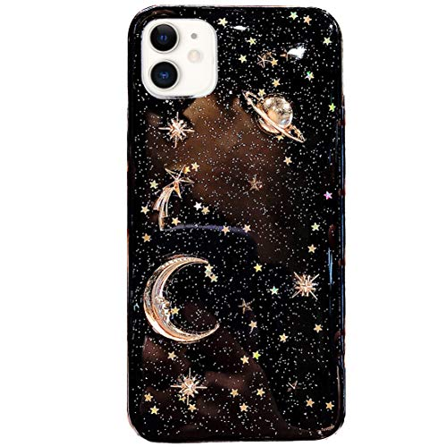 BONITEC for Apple iPhone 11 Case 3D Bling Planet Glitter with Space Sparkle Moon Star Universe Flexible Soft TPU Protection Shockproof Protective Cases Cover Gold