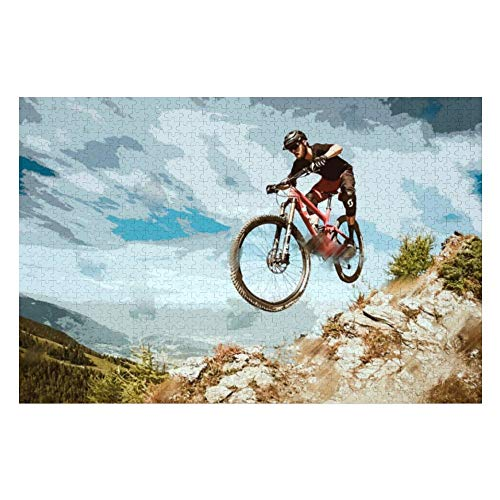 Puzzles 1000 Piece for Adults Jigsaw Puzzles-Fun Indoor Activity Large Puzzle Game Toys Gift - Flying Downhill on A Mountain Bike