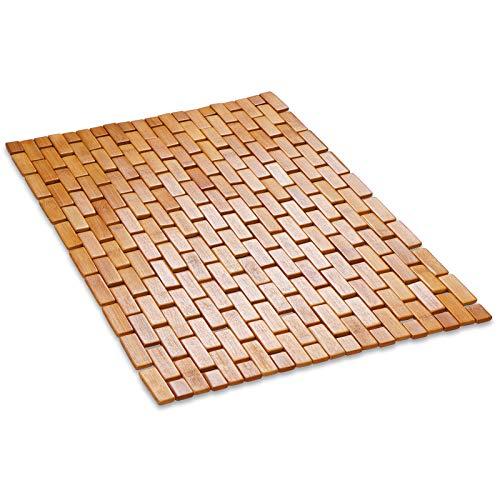 Marscool Bamboo Wood Bath Mat for Bathroom