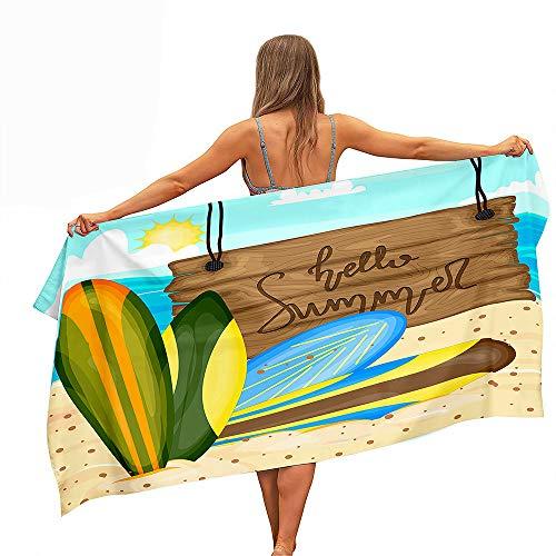 Surwin Grande Toalla de Playa de Microfibra Toalla a Impresión de Secado Rápido Súper Absorbente Natación Toalla de Arena Antiadherente para Playa, Tabla Surf Impresión (Tabla Surf Verde,80x160cm)