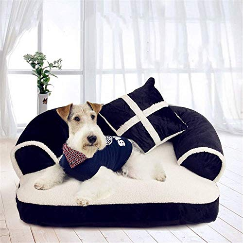 WDMSN Dog Bed Dog Sofa Cozy Plush pet Settee Heavy Duty Durable Removable Washable Cover Relief and Improved Sleep for Cats And Small Medium Dogs Puppies Black And White M L - Send Pillow,M