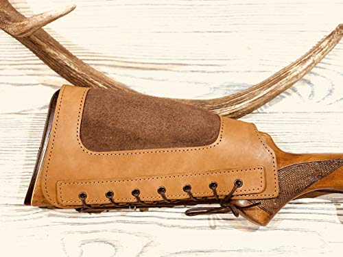 vsdfvsdfv Leather Rifle Buttstock Cover Butt Stock Holder Cheek Rest - Real Suede Padded (Tan, Right Handed)