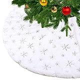 KONVINIT Blanca Falda de Árbol de Navidad Peluche Christmas Tree Skirt Felpa Dorados Copos de Nieve Base de Árbol de Navidad Adornos navideños Silver 78cm/30inch