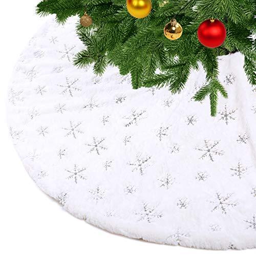 KONVINIT Weihnachtsbaumdecke Weiß Plüsch Christmasbaumdecke Kunstfell Weihnachtsbaumteppich Rund Weihnachtsbaum Rock Weihnachtsdeko mit Pailletten Schneeflocke Silver 78cm/30inch