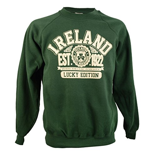 Traditional Craft Flaschengrünes Sweatshirt Sweatjacke mit Irland und Lucky Edition Inschrift Design | Lässiger Warmer Fleece Pullover Sweater Hoodie für Herren (L)