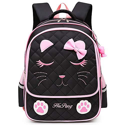 Mochila Escolar Niña para Primaria, Mochilas Escolares Infantiles (Negro Gato)