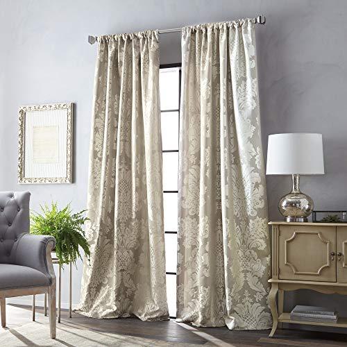MARTHA STEWART Palermo Room Darkening Lined Rod Pocket Single Curtain Panel, 84-inch, Champagne