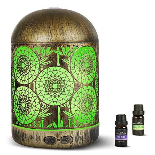 Aroma Diffuser 300ml mit 2 * 10ml Ätherische Öle Set|infinitoo Luftbefeuchter Ultraschall Metall Aromatherapie Diffusor mit 7 LED Farbwechsel|Raumbefeuchter, für Zuhause Büro Oder Yoga