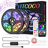 10M Bluetooth Tira LED, VITCOCO Tira LED 5050 RGB 10M(2×5M) de Flexibles...