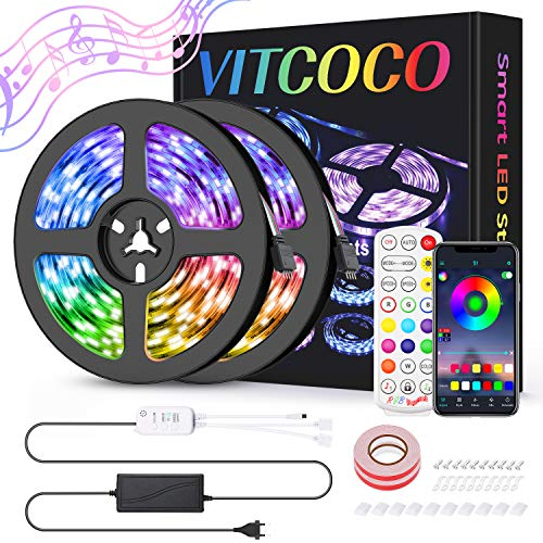 Striscia LED,VITCOCO LED Strisce Bluetooth 10M 5050 RGB Nastri LED Luminose 24 Tasti Telecomando con Controller Sincronizza con la Musica,Milioni Colori DIY luci led, Android e IOS Controllato da APP