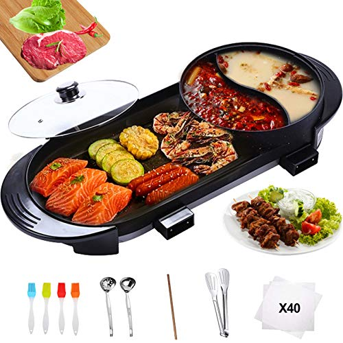 Wlretmci Electric Grill Indoor Hot Pot Combo, 2200W 4L Capacity Multifunctional Electric Barbecue Stove with Rich Barbecue Tools, Smokeless Korean BBQ Grill for 2-12 People