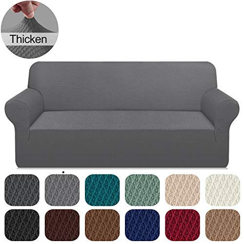 Carltina Thickened Jacquard Extra Large Sofa Covers Pet Dog Cat Proof Slipcover Stretch Couch Cover for Dogs Pets Furniture Protector with Non Slip Foams (X-Large, Light Gray)