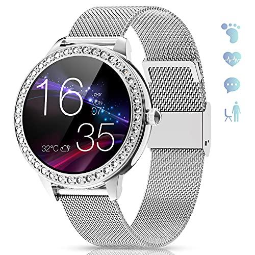 GOKOO Smartwatch Mujer Reloj Inteligente IP68 Impermeable Calorías Pulsómetro Monitor de Sueño Notificaciones Inteligentes Control de Musica Reloj Deportivo Compatible con Android iOS (Plata)