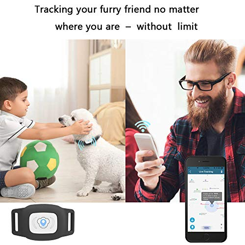 BARTUN GPS Pet Tracker, Cat Dog Tracking Device with Unlimited Range (Black)
