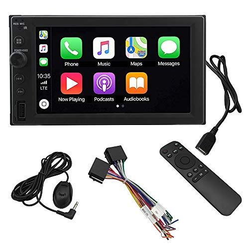 LEADSIGN CT-6200 Double Din Car Stereo Wireless Digital Media Receiver with Apple CarPlay,Android Auto,Built-in Bluetooth,6.2' Touch Monitor,MP5/WMA Player,USB Ports,AVIN Input and AM/FM Radio Tuner