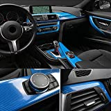 Etiquetas engomadas del coche de la película de vinilo de vinilo de fibra de carbono 5D para BMW E46 E90 E60 F30 E39 Accesorios E36 F20 E87 E92 E30 E91 X5 E70 G30 E34 2021 3D (Color Name : Blue)