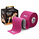 OK TAPE Sports Kinesiology Tape - 20 Strips Precut Latex Free Waterproof Athletic Tape for Pain Relief, Supports and Stabilizes Muscles & Joints Lasts Upto 3 Days- 2inch x 16.4 feet Roll Pink