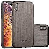 NeWisdom iPhone Xs Max Case Wood, new iPhone XS Max Wood Case Unique Slim Thin Soft Protective Anti-Shock Shockproof (6.5' iPhone 2018 BlackRose)