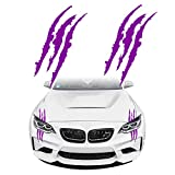 KeeForthewin Claw Marks Decal Reflective Sticker Waterproof Headlight Decal Vinyl Sticker Decal for Sports Cars 2PCS (Purple)