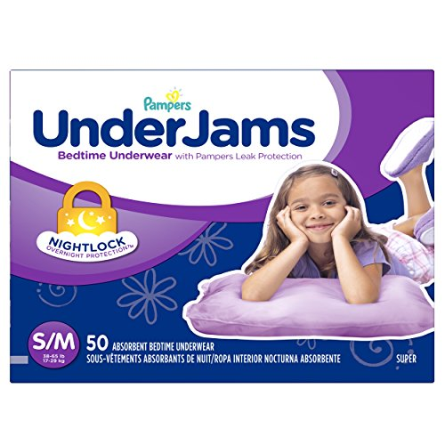 Pampers UnderJams Disposable Bedtime Underwear for Girls, Size S/M, 50 Count, Super Pack